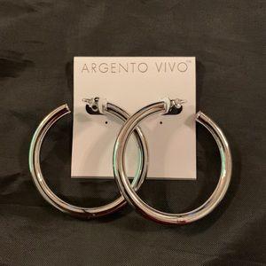 Argento Vivo Silver Color Thick Hoop 2.25 inch